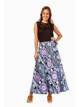 Grace Long Cotton Wrap Skirt - Quant  Print